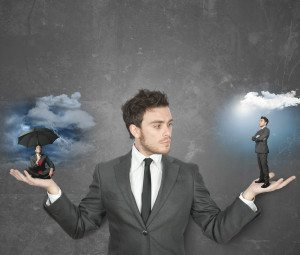Businessman torn between being positive or negative