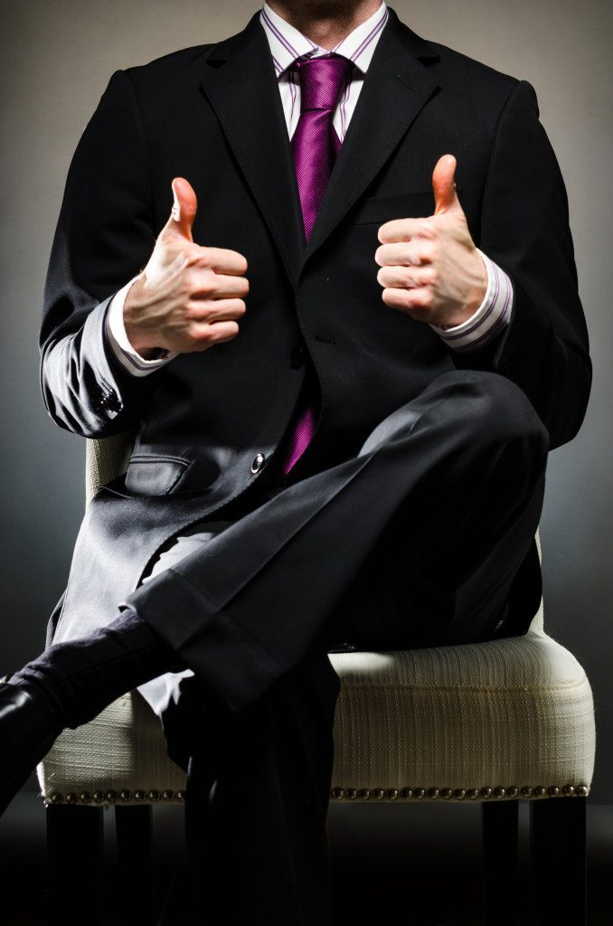 Man Wearing Suit thumbs up